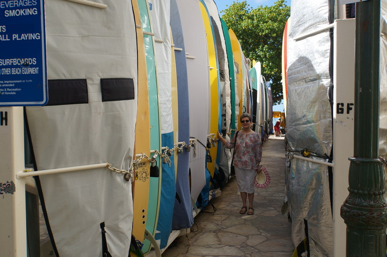 surfboard storage area at Waikiki