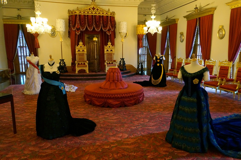 Throne room with replica gowns