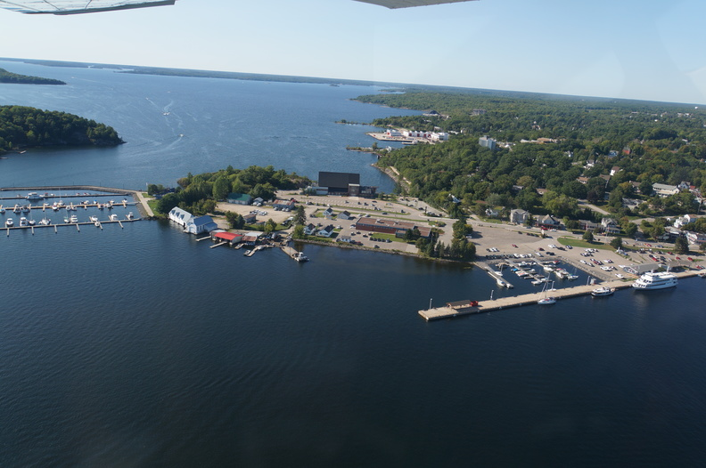 Parry Sound with the sound in background and Kilbear park on horizon