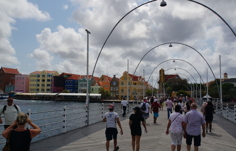floating bridge to old town in Willemstad, Curacao