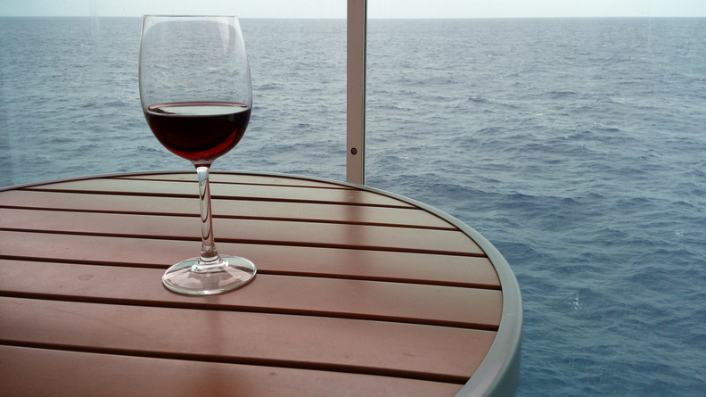 wine on the balcony