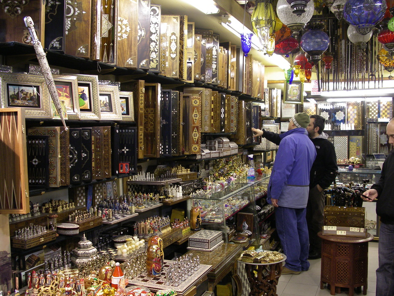 shop in Grand Bazaar with backgammon and chess sets